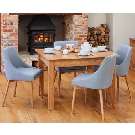 Mobel Oak 120cm Oak Table & 4 Grey Fabric Dining Chairs COR03L