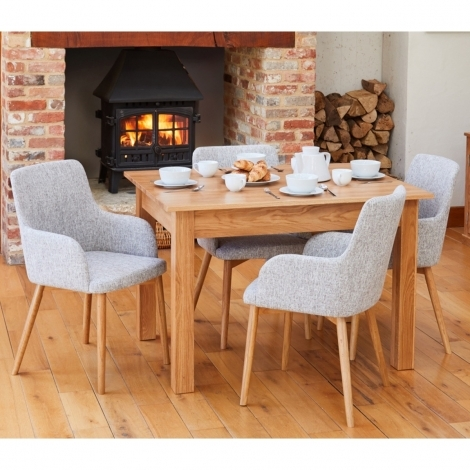 Mobel Oak 120cm Oak Table & 4 Grey Fabric Dining Chairs COR03M