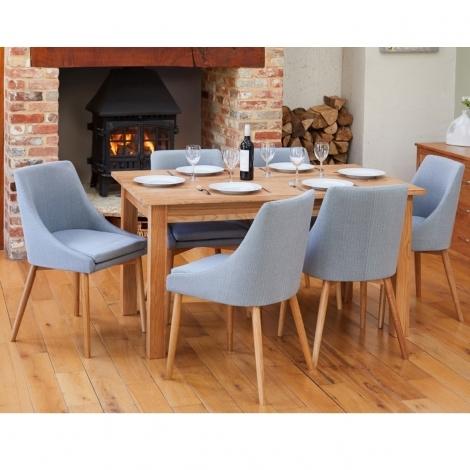 Mobel Oak 150cm Oak Table & 4 Grey Fabric Dining Chairs COR03L