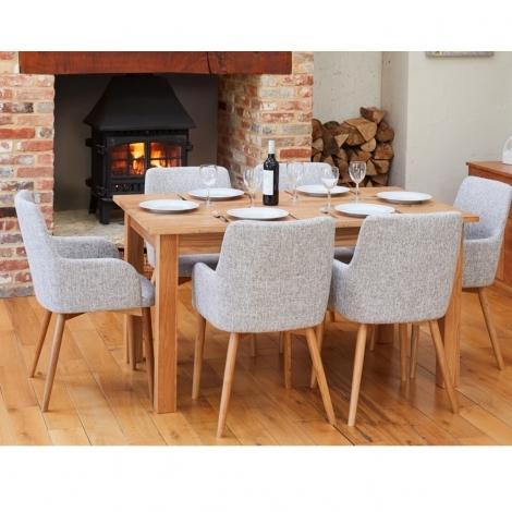 Mobel Oak 150cm Oak Table & 4 Grey Fabric Dining Chairs COR03M