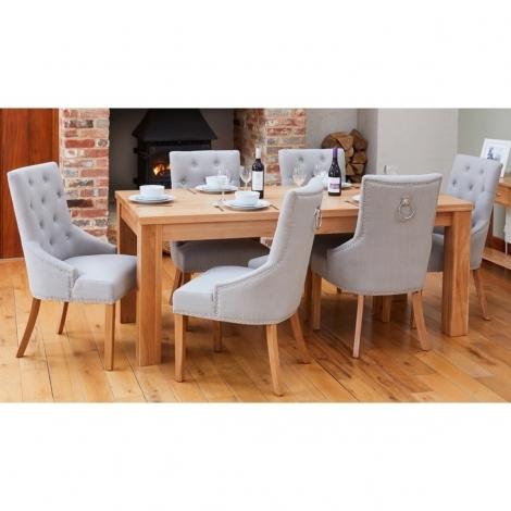 Mobel Oak 150cm Oak Table & 4 Grey Fabric Knocker Back Dining Chairs