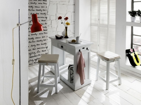 Nova Solo, Halifax Pure White Kitchen Table with 2 Stool without Cushion