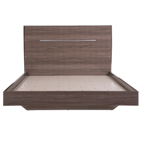 Amelia Bed Frame with LED lights In Chestnut High Gloss