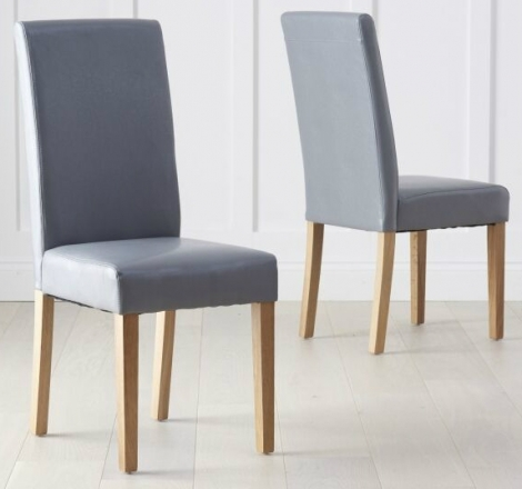 2x Atlanta Dining Chair - Grey Faux Leather (Pair)