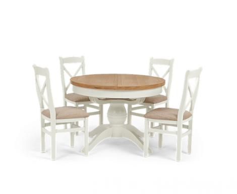 Hampstead Oak and White Painted Round Butterfly Extending Dining Table with Cross Back Chairs