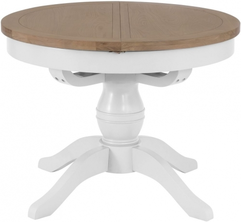 Hampstead Oak and White Painted Round Butterfly Extending Dining Table