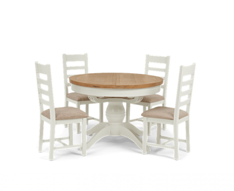 Hampstead Oak and White Painted Round Butterfly Extending Dining Table with Ladder Back Chairs