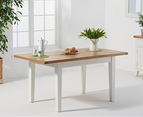 Hampstead Oak and White Painted 120cm Butterfly Extending Dining Table