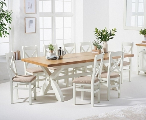 Hampstead Oak and White Painted 180cm Extending Dining Table with Cross Back Dining Chairs with Fabric Seats