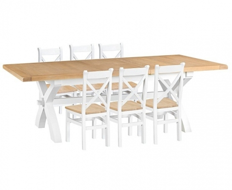 Hampstead Oak and White Painted 180cm Extending Dining Table with Cross Back Dining Chairs with Wooden Seats