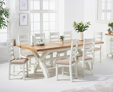Hampstead Oak and White Painted 180cm Extending Dining Table with Ladder Back Dining Chairs with Fabric Seats