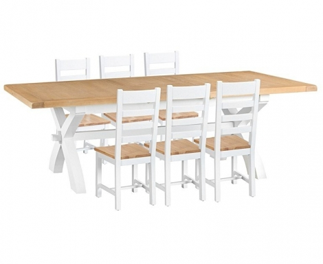 Hampstead Oak and White Painted 180cm Extending Dining Table with Ladder Back Dining Chairs with Wooden Seats