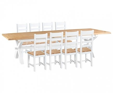 Hampstead Oak and White Painted 250cm Extending Dining Table & Ladder Back Dining Chairs, Oak Seats
