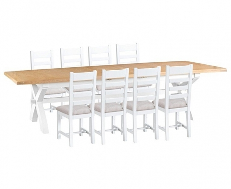 Hampstead Oak and White Painted 250cm Extending Dining Table & Ladder Back Dining Chairs, Fabric Seats