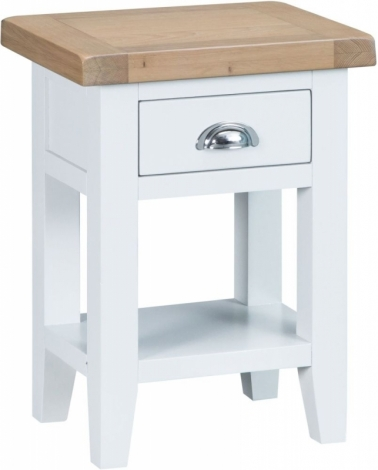 Hampstead Oak and White Painted 1 Drawer Side Table