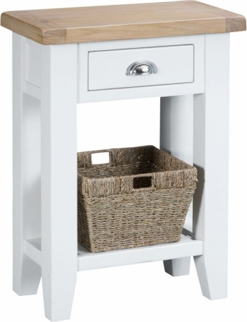 Hampstead Oak and White Painted 1 Drawer Telephone Table