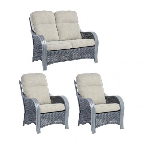 Desser, Turin, Grey Wash, Cane 2 Seater Sofa & 2 Chairs