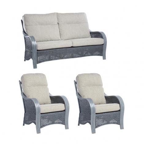 Desser, Turin, Grey Wash, Cane 3 Seater Sofa & 2 Chairs