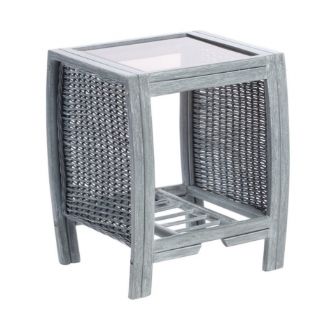 Desser, Turin, Grey Wash, Cane Lamp Table