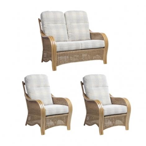 Desser, Turin, Light Oak, Cane 2 Seater Sofa & 2 Armchairs