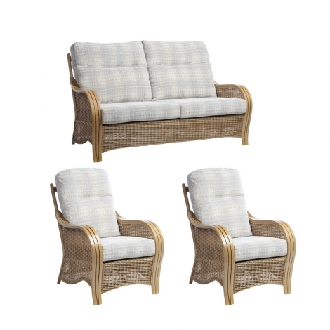 Desser, Turin, Light Oak, Cane 3 Seater Sofa & 2 Armchairs