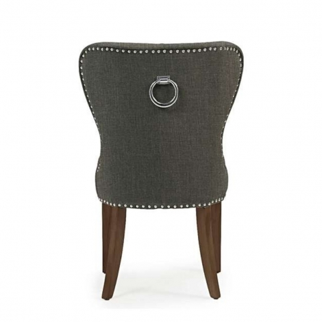 2x Kalim, Grey Linen, Knocker Back, Dining Chair, Solid Dark Oak Leg (Pack of 2)