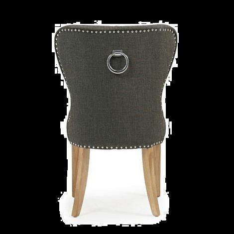 2x Kalim, Grey Linen, Knocker Back, Dining Chair, Solid Oak Leg (Pack of 2)