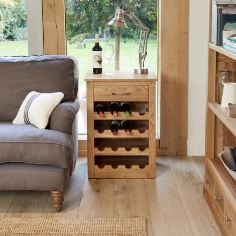 Baumhaus Mobel Oak Wine Rack Lamp Table