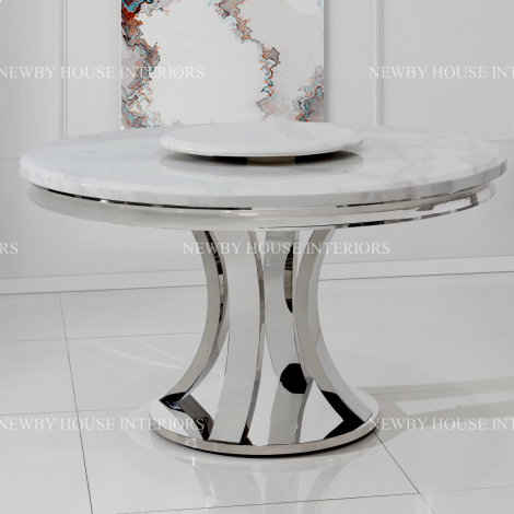 Romano 130cm Round White Marble & Stainless Steel Dining Table