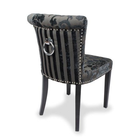 2x Baroque Velvet Charcoal Fabric, Knocker Back, Dining / Accent Chairs (Pack of 2)