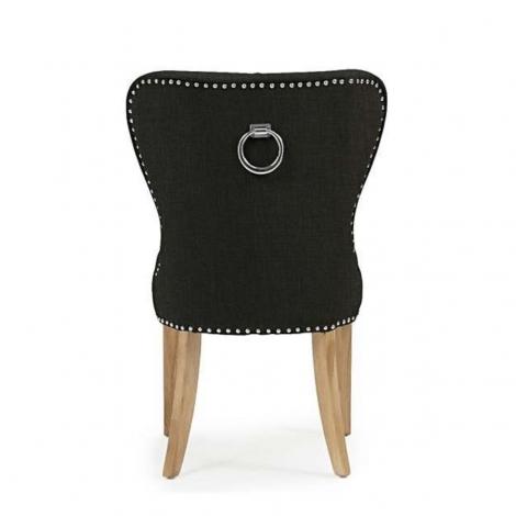 2x Kalim, Black Fabric, Knocker Back, Dining Chair, Solid Oak Leg (Pack of 2)