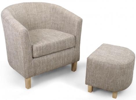 Shankar Tub Chair & Stool Tweed Oatmeal