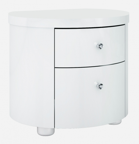 Vicky White High Gloss Nightstand With Crystal Handle