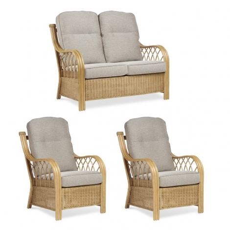 Desser, Viola, Light Oak, Cane 2 Seater Sofa & 2 Chairs