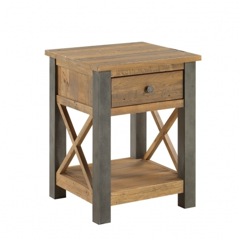 Elegance Reclaimed Lamp Table With Drawer