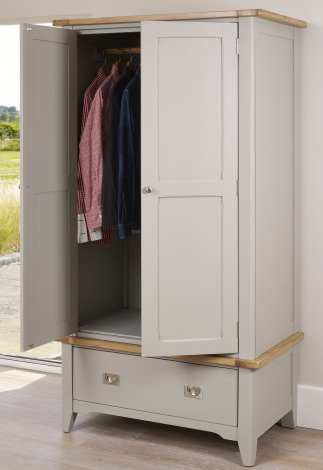 Bordeaux Cool Grey Painted WIth Oak Top Gents Wardrobe