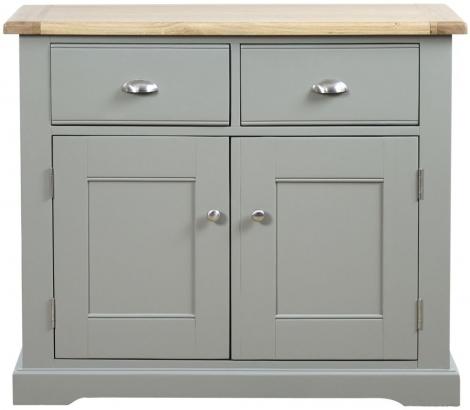 Waterford, 2 Drawer Sideboard, Painted Grey, Oak Tops