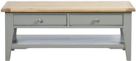 Waterford, 2 Drawer Coffee Table, Painted Grey, Oak Tops