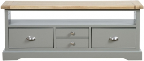 Waterford, 2 Drawer TV Cabinet, Painted Grey, Oak Tops