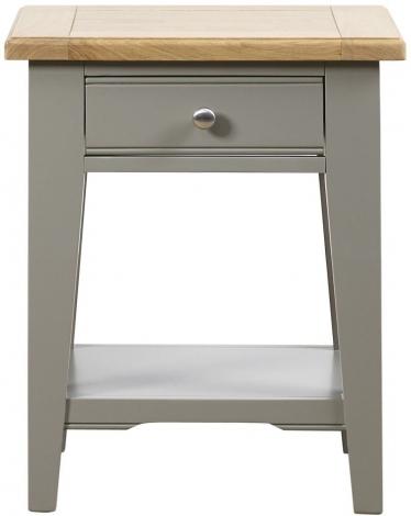 Waterford, 1 Drawer Lamp Table, Painted Grey, Oak Tops