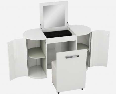 Vicky White High Gloss Vanity Unit With Stool