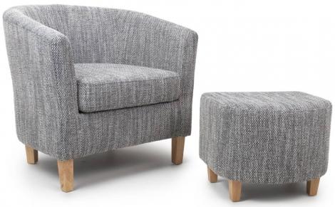 Shankar Tub Chair & Stool Tweed Grey