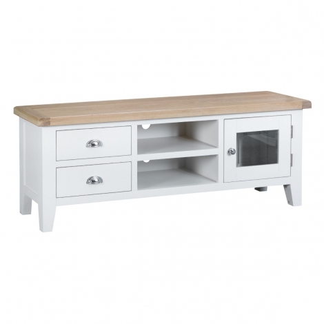 Hampstead Oak and White Painted 1 Door 2 Drawer TV Unit
