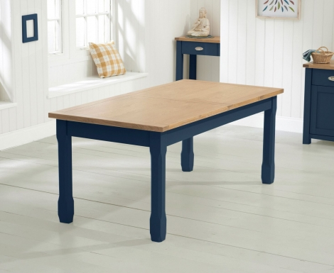 Sandringham Oak and Blue Painted, 180cm - 270cm Extending Dining Table